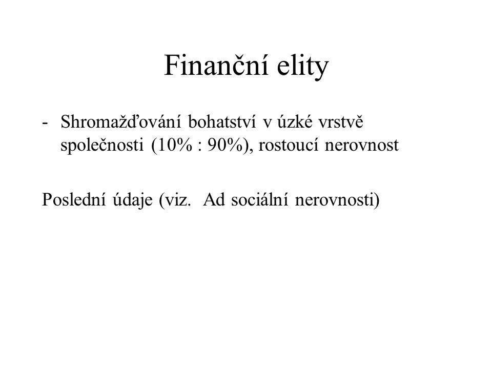 Finanční elity -Shromažďování bohatství v úzké vrstvě společnosti (10% : 90%), rostoucí nerovnost Poslední údaje (viz. Ad sociální nerovnosti)