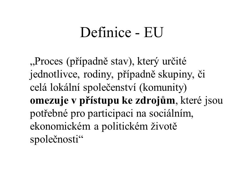 """Definice - EU """"Proces (případně stav), který určité jednotlivce, rodiny, případně skupiny, či celá lokální společenství (komunity) omezuje v přístupu"""