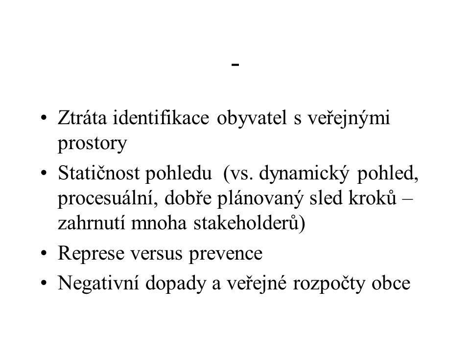 - Ztráta identifikace obyvatel s veřejnými prostory Statičnost pohledu (vs. dynamický pohled, procesuální, dobře plánovaný sled kroků – zahrnutí mnoha