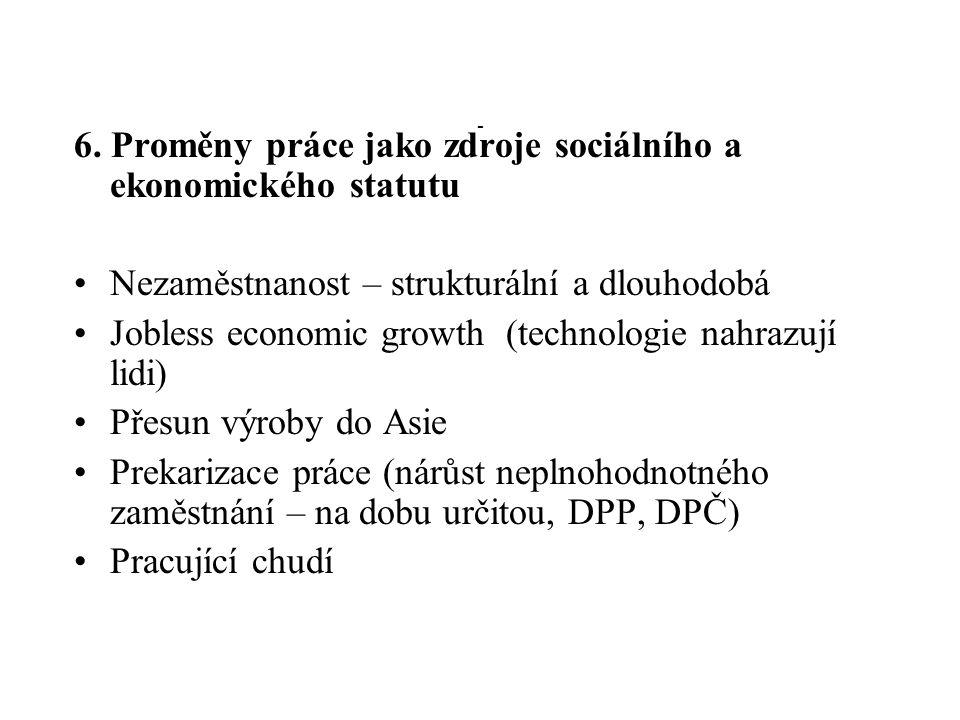 - 6. Proměny práce jako zdroje sociálního a ekonomického statutu Nezaměstnanost – strukturální a dlouhodobá Jobless economic growth (technologie nahra
