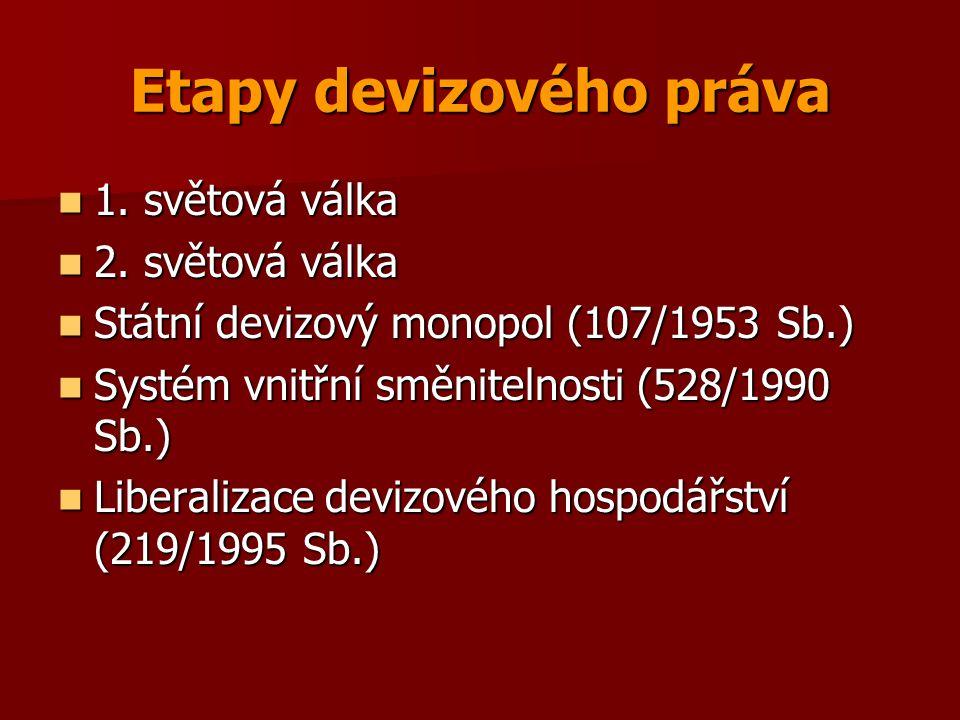 Etapy devizového práva 1. světová válka 1. světová válka 2. světová válka 2. světová válka Státní devizový monopol (107/1953 Sb.) Státní devizový mono