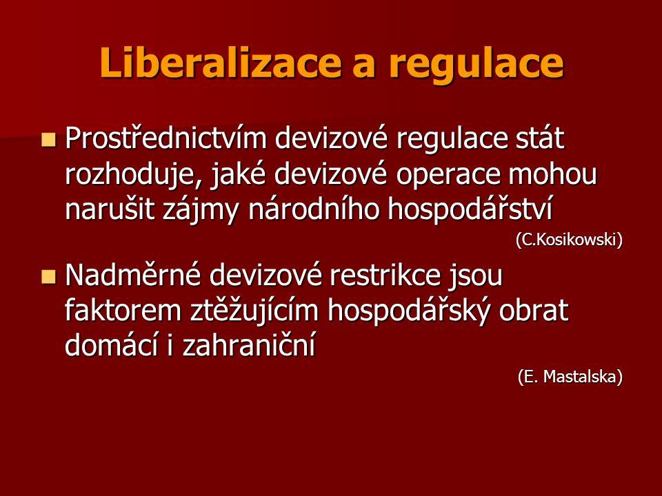 Liberalizace a regulace Prostřednictvím devizové regulace stát rozhoduje, jaké devizové operace mohou narušit zájmy národního hospodářství Prostřednic