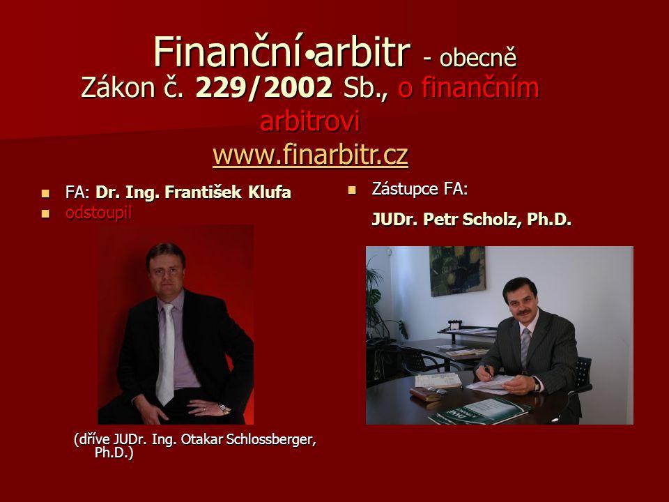 Finanční arbitr - obecně FA: Dr. Ing. František Klufa FA: Dr. Ing. František Klufa odstoupil odstoupil (dříve JUDr. Ing. Otakar Schlossberger, Ph.D.)
