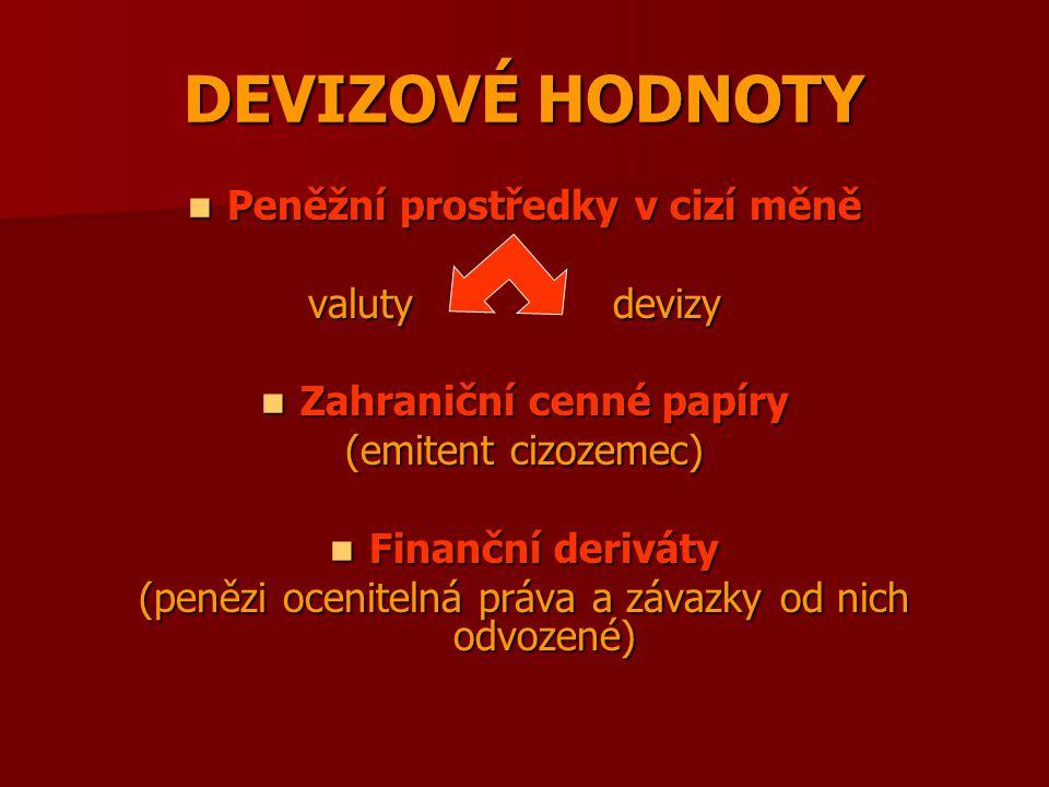 DEVIZOVÉ HODNOTY Peněžní prostředky v cizí měně Peněžní prostředky v cizí měně valuty devizy valuty devizy Zahraniční cenné papíry Zahraniční cenné pa
