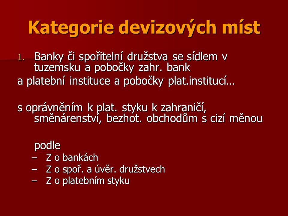 Kategorie devizových míst 1. Banky či spořitelní družstva se sídlem v tuzemsku a pobočky zahr. bank a platební instituce a pobočky plat.institucí… s o