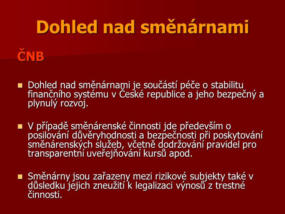 Dohled nad směnárnami ČNB Dohled nad směnárnami je součástí péče o stabilitu finančního systému v České republice a jeho bezpečný a plynulý rozvoj. Do