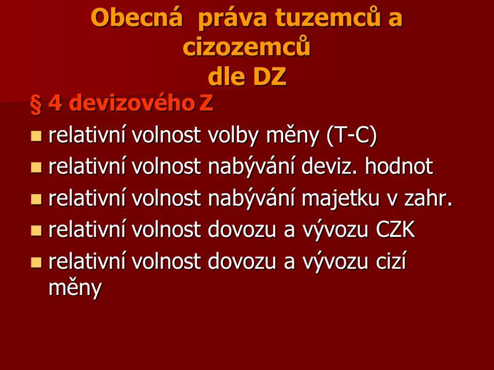 Obecná práva tuzemců a cizozemců dle DZ § 4 devizového Z relativní volnost volby měny (T-C) relativní volnost volby měny (T-C) relativní volnost nabýv
