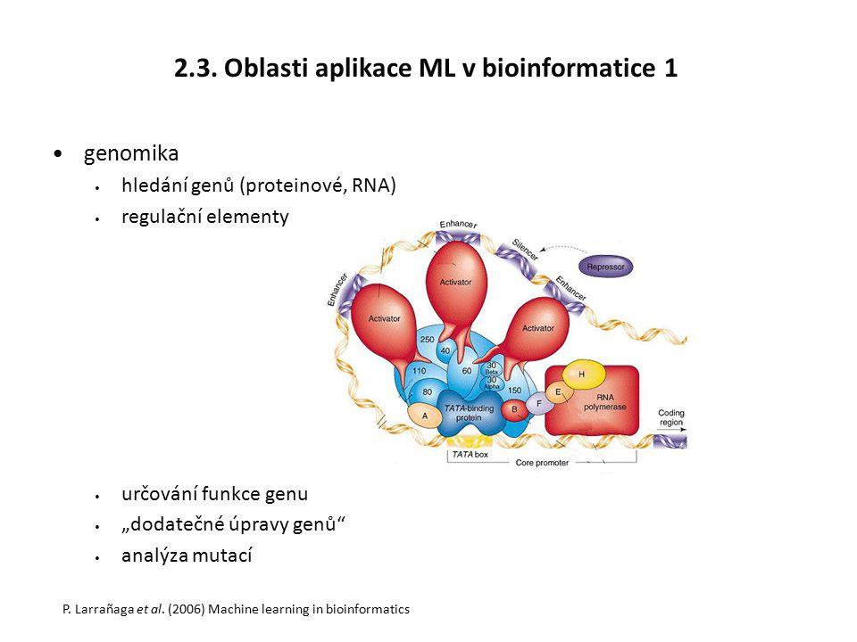 """2.3. Oblasti aplikace ML v bioinformatice 1 genomika hledání genů (proteinové, RNA) regulační elementy určování funkce genu """"dodatečné úpravy genů"""" an"""