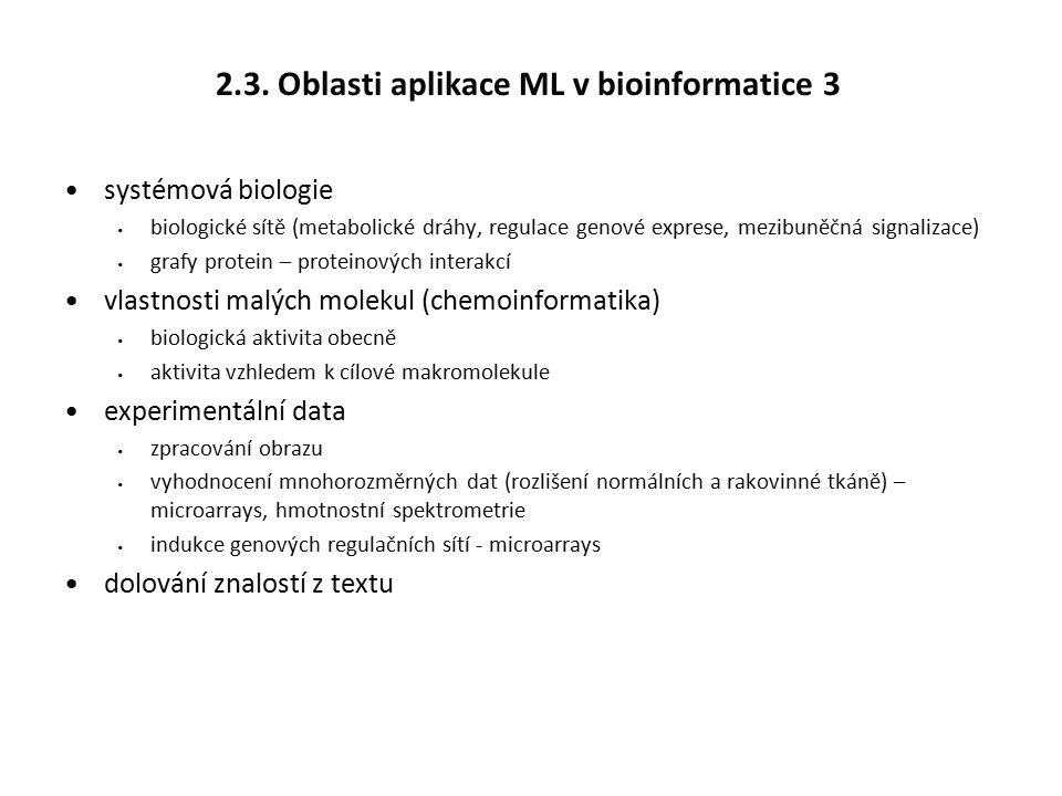 2.3. Oblasti aplikace ML v bioinformatice 3 systémová biologie biologické sítě (metabolické dráhy, regulace genové exprese, mezibuněčná signalizace) g