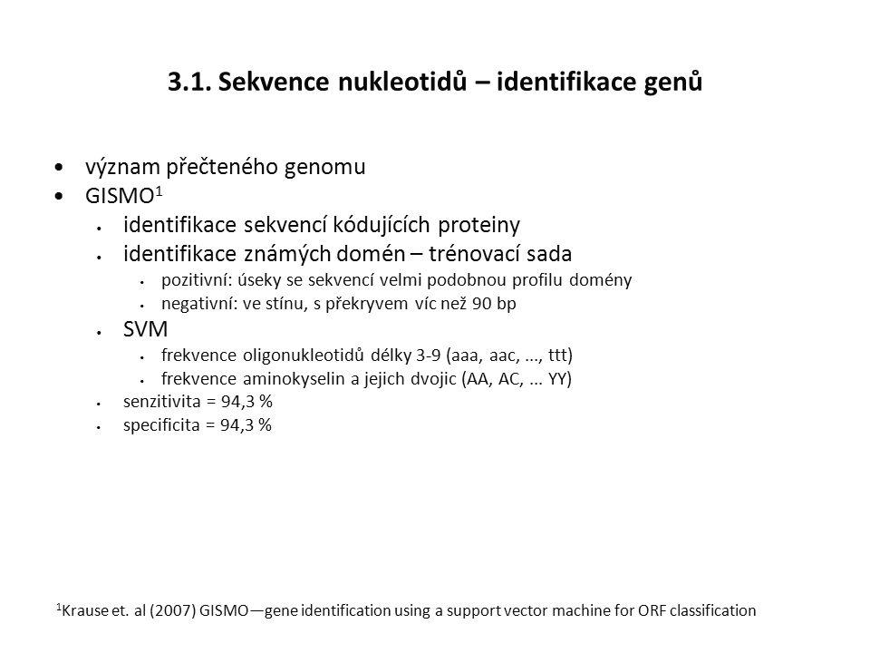 3.1. Sekvence nukleotidů – identifikace genů význam přečteného genomu GISMO 1 identifikace sekvencí kódujících proteiny identifikace známých domén – t
