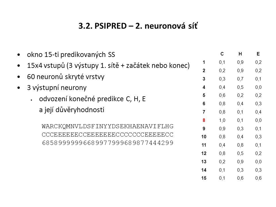 3.2. PSIPRED – 2. neuronová síť okno 15-ti predikovaných SS 15x4 vstupů (3 výstupy 1. sítě + začátek nebo konec) 60 neuronů skryté vrstvy 3 výstupní n