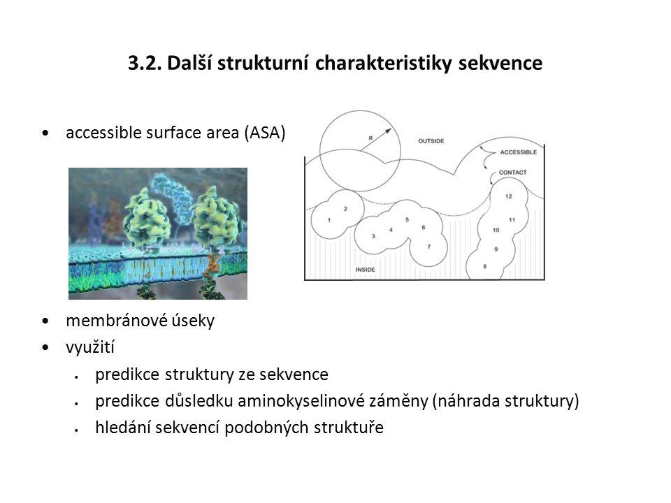 3.2. Další strukturní charakteristiky sekvence accessible surface area (ASA) membránové úseky využití predikce struktury ze sekvence predikce důsledku