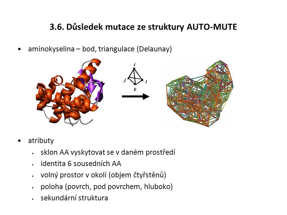 3.6. Důsledek mutace ze struktury AUTO-MUTE aminokyselina – bod, triangulace (Delaunay) atributy sklon AA vyskytovat se v daném prostředí identita 6 s