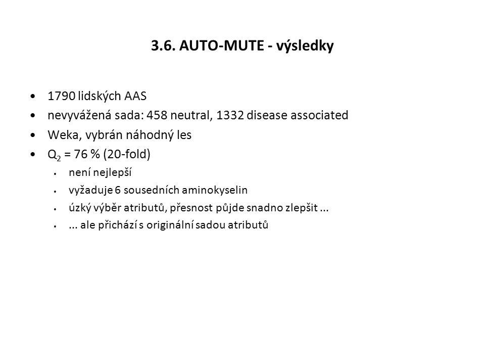 3.6. AUTO-MUTE - výsledky 1790 lidských AAS nevyvážená sada: 458 neutral, 1332 disease associated Weka, vybrán náhodný les Q 2 = 76 % (20-fold) není n