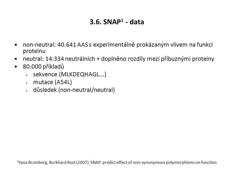 3.6. SNAP 1 - data non-neutral: 40.641 AAS s experimentálně prokázaným vlivem na funkci proteinu neutral: 14.334 neutrálních + doplněno rozdíly mezi p