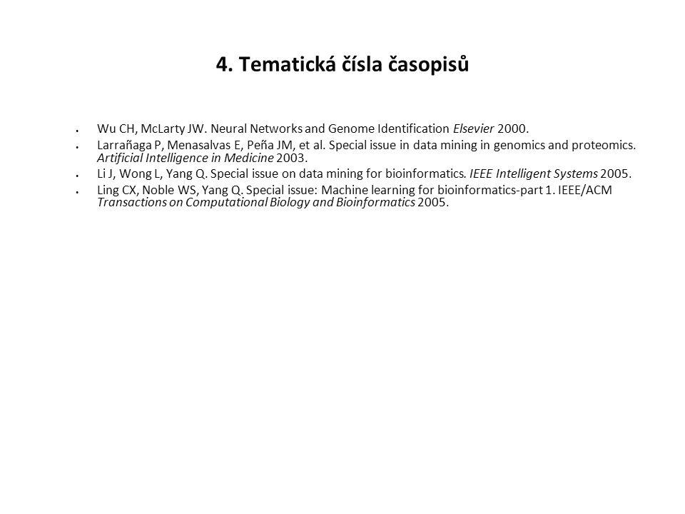 4. Tematická čísla časopisů Wu CH, McLarty JW. Neural Networks and Genome Identification Elsevier 2000. Larrañaga P, Menasalvas E, Peña JM, et al. Spe