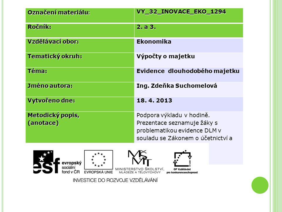 Označení materiálu : VY_32_INOVACE_EKO_1294Ročník: 2. a 3. Vzdělávací obor: Ekonomika Tematický okruh: Výpočty o majetku Téma: Evidence dlouhodobého m