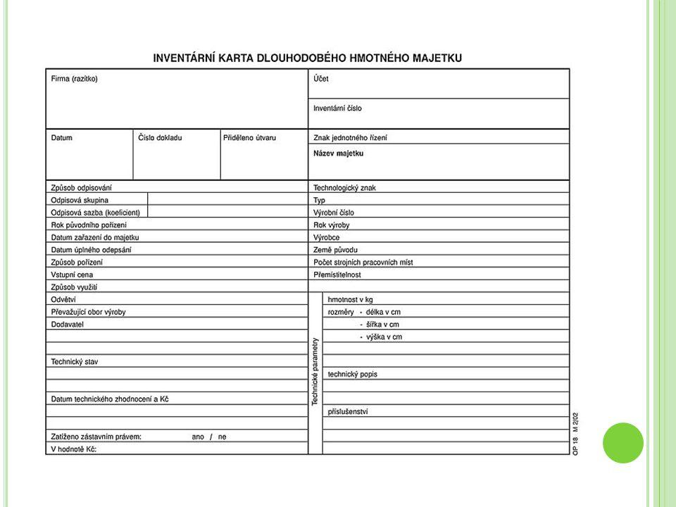 Ú KOL Sestavte inventární kartu DLM – počítače s pořizovací cenou 60.000,- Kč.
