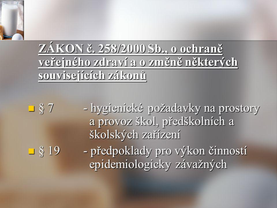 ZÁKON č. 258/2000 Sb., o ochraně veřejného zdraví a o změně některých souvisejících zákonů § 7- hygienické požadavky na prostory a provoz škol, předšk