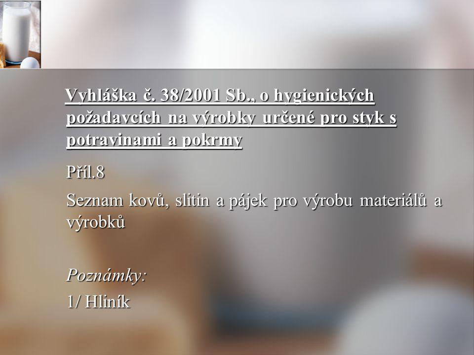 Vyhláška č. 38/2001 Sb., o hygienických požadavcích na výrobky určené pro styk s potravinami a pokrmy Vyhláška č. 38/2001 Sb., o hygienických požadavc
