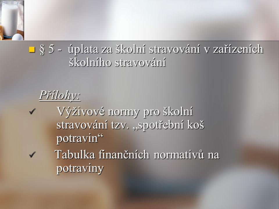§ 5 - úplata za školní stravování v zařízeních školního stravování § 5 - úplata za školní stravování v zařízeních školního stravováníPřílohy: Výživové