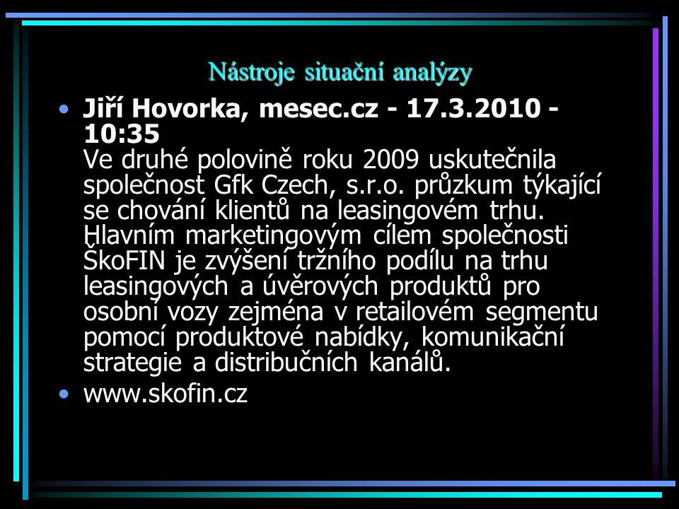 Nástroje situační analýzy Jiří Hovorka, mesec.cz - 17.3.2010 - 10:35 Ve druhé polovině roku 2009 uskutečnila společnost Gfk Czech, s.r.o. průzkum týka