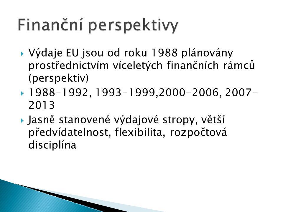  Výdaje EU jsou od roku 1988 plánovány prostřednictvím víceletých finančních rámců (perspektiv)  1988-1992, 1993-1999,2000-2006, 2007- 2013  Jasně