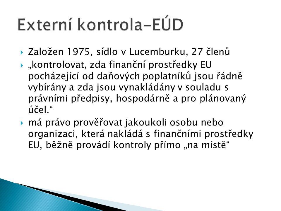 """ Založen 1975, sídlo v Lucemburku, 27 členů  """"kontrolovat, zda finanční prostředky EU pocházející od daňových poplatníků jsou řádně vybírány a zda jsou vynakládány v souladu s právními předpisy, hospodárně a pro plánovaný účel.  má právo prověřovat jakoukoli osobu nebo organizaci, která nakládá s finančními prostředky EU, běžně provádí kontroly přímo """"na místě"""