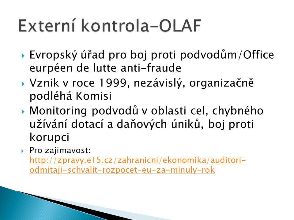  Evropský úřad pro boj proti podvodům/Office eurpéen de lutte anti-fraude  Vznik v roce 1999, nezávislý, organizačně podléhá Komisi  Monitoring pod
