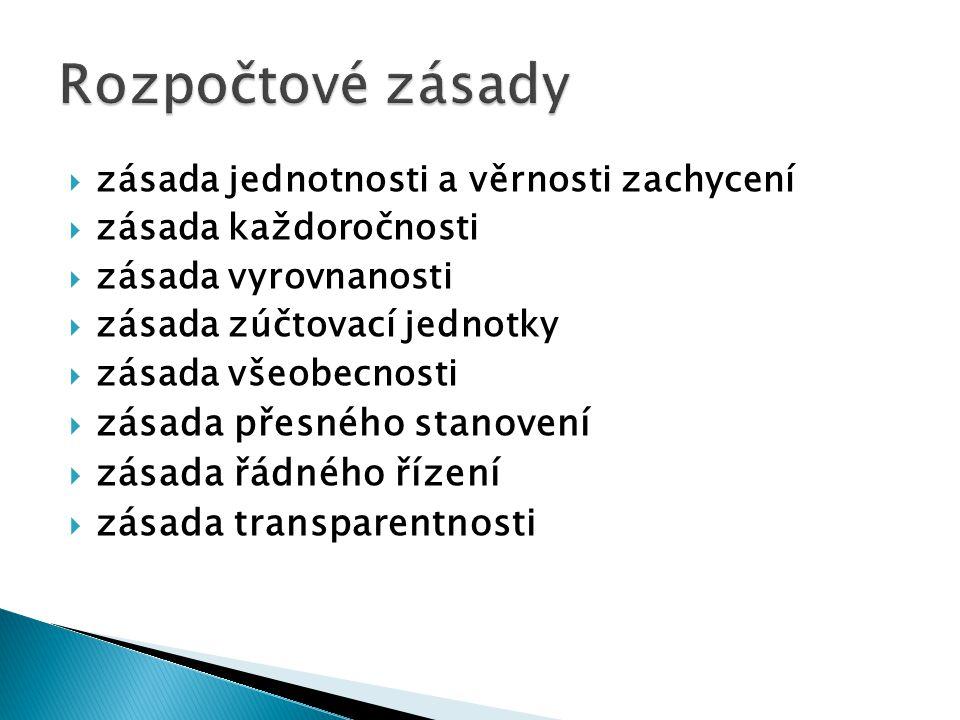  zásada jednotnosti a věrnosti zachycení  zásada každoročnosti  zásada vyrovnanosti  zásada zúčtovací jednotky  zásada všeobecnosti  zásada přesného stanovení  zásada řádného řízení  zásada transparentnosti