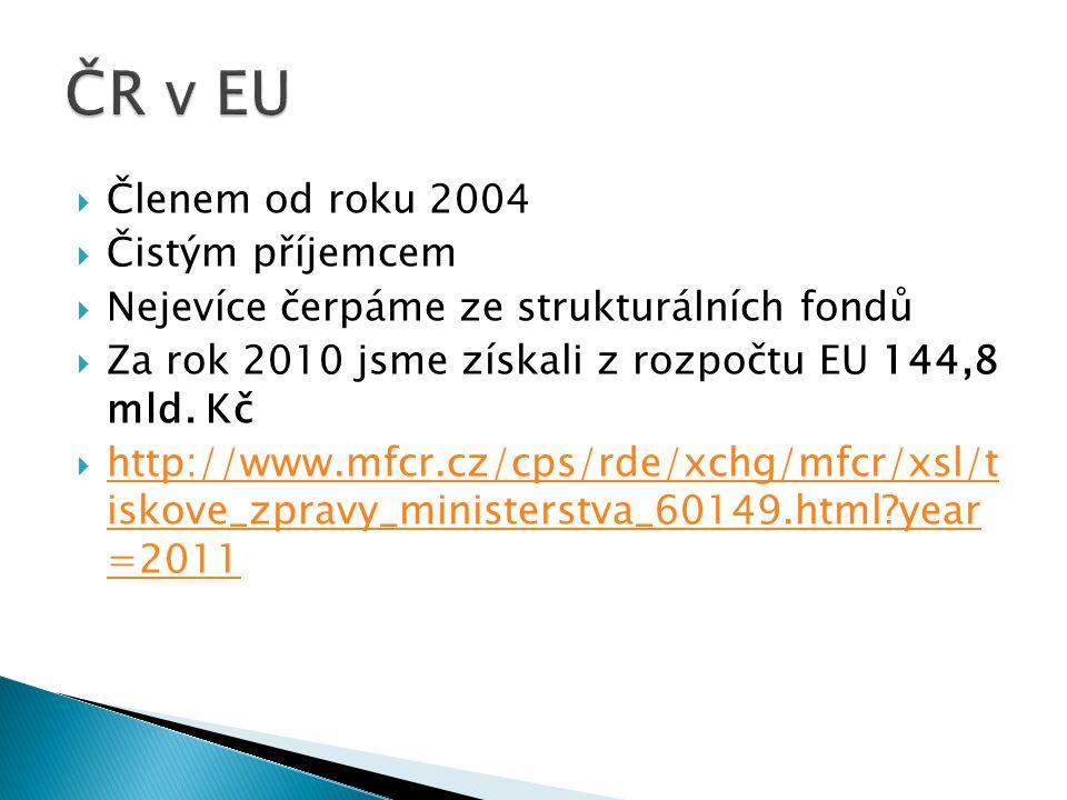  Členem od roku 2004  Čistým příjemcem  Nejevíce čerpáme ze strukturálních fondů  Za rok 2010 jsme získali z rozpočtu EU 144,8 mld. Kč  http://ww