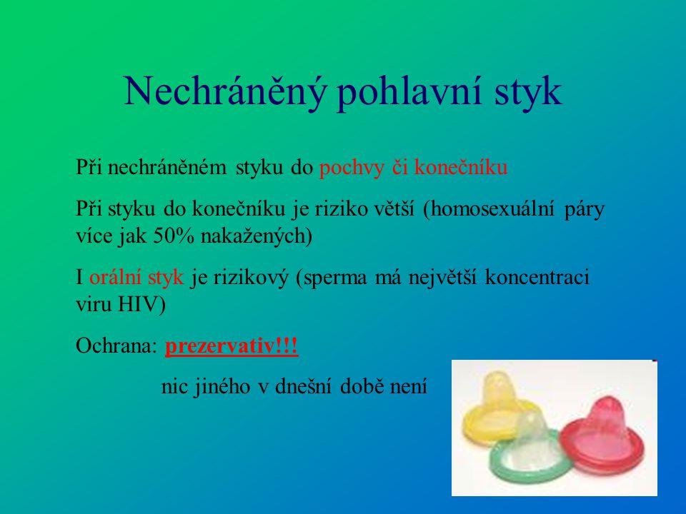Nechráněný pohlavní styk Při nechráněném styku do pochvy či konečníku Při styku do konečníku je riziko větší (homosexuální páry více jak 50% nakaženýc