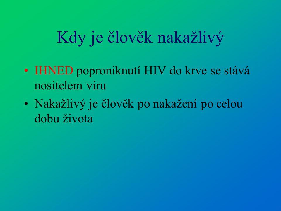 Kdy je člověk nakažlivý IHNED poproniknutí HIV do krve se stává nositelem viru Nakažlivý je člověk po nakažení po celou dobu života
