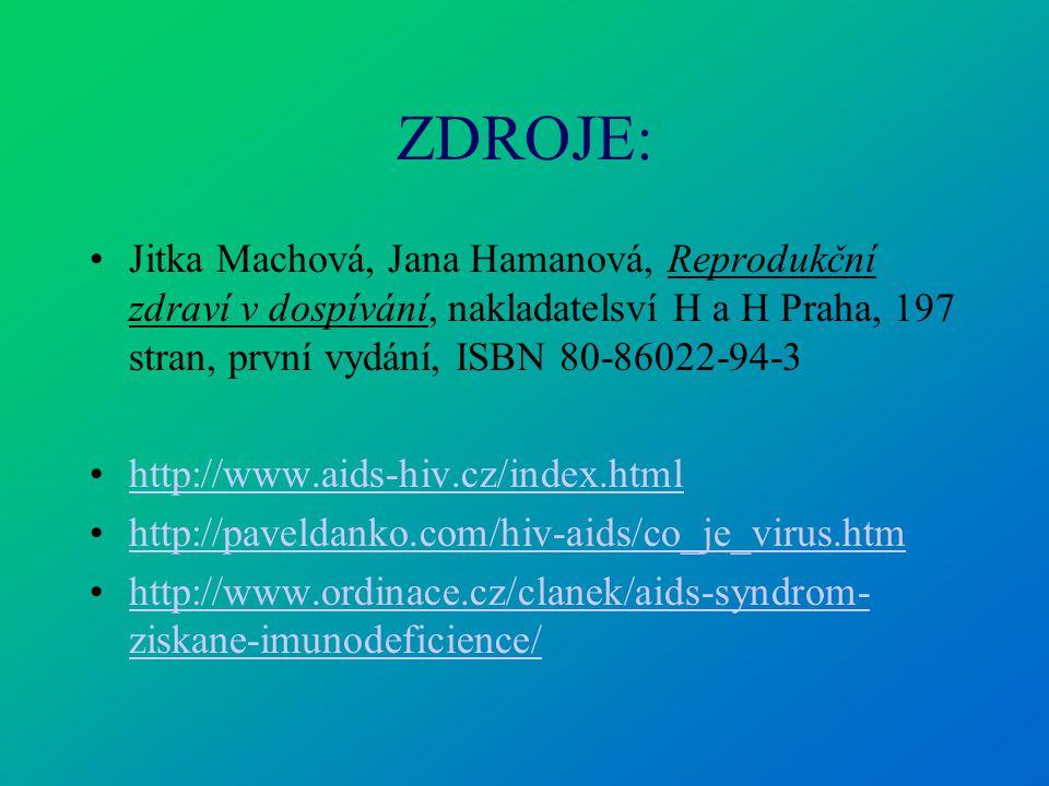 ZDROJE: Jitka Machová, Jana Hamanová, Reprodukční zdraví v dospívání, nakladatelsví H a H Praha, 197 stran, první vydání, ISBN 80-86022-94-3 http://ww