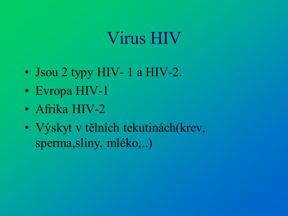 Virus HIV Jsou 2 typy HIV- 1 a HIV-2. Evropa HIV-1 Afrika HIV-2 Výskyt v tělních tekutinách(krev, sperma,sliny, mléko,..)