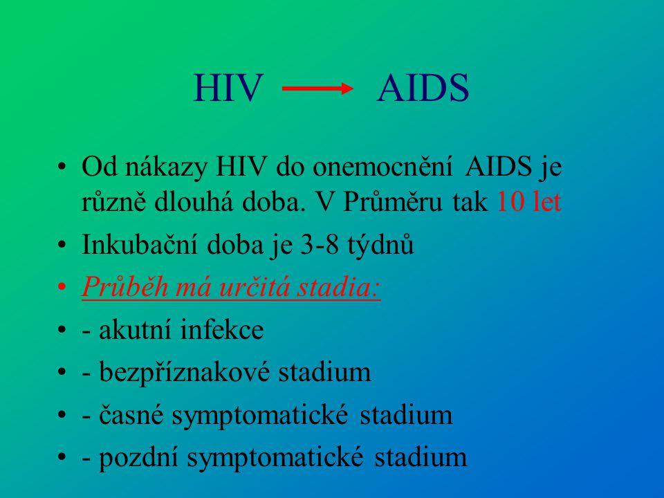 HIV AIDS Od nákazy HIV do onemocnění AIDS je různě dlouhá doba. V Průměru tak 10 let Inkubační doba je 3-8 týdnů Průběh má určitá stadia: - akutní inf