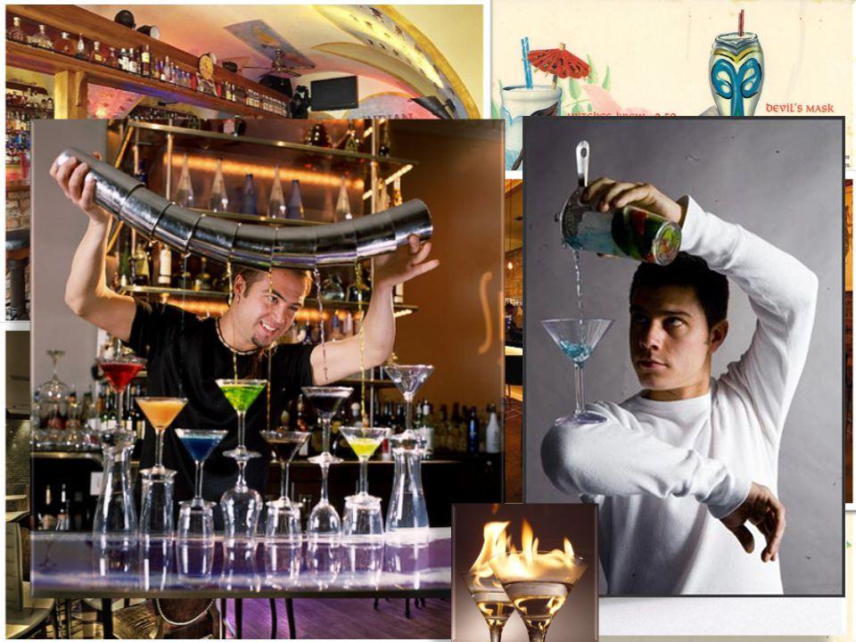 """Koktejlový bar Typické znaky: široká nabídka míchaných nápojů servírování i v netradičních """"nosičích (vydlabaný ananas, sklenice od zavařeniny, ledová koule...) více světla, barev, hudby proti American baru barmani musí znát novinky v MN, twistovat klasické nápoje, popř."""