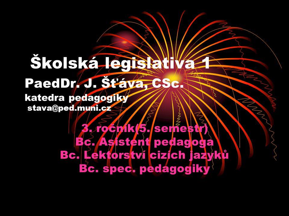 Školská legislativa 1 PaedDr. J. Šťáva, CSc. katedra pedagogiky stava@ped.muni.cz 3. ročník(5. semestr) Bc. Asistent pedagoga Bc. Lektorství cizích ja