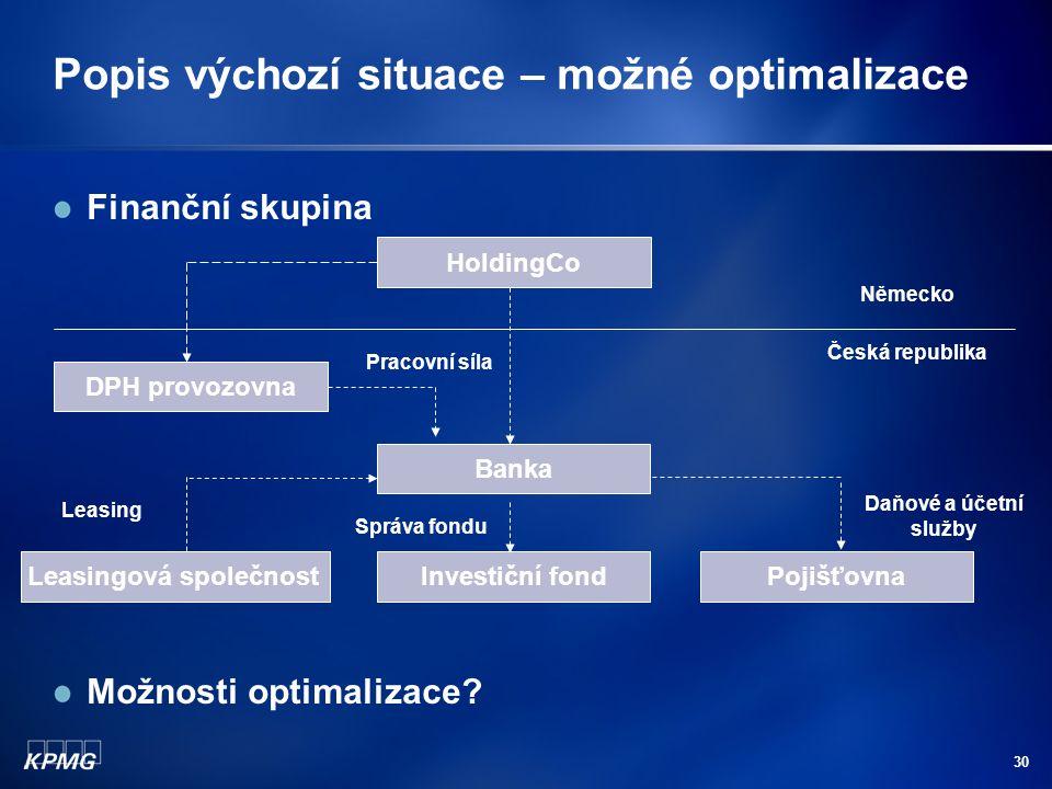 30 Popis výchozí situace – možné optimalizace Finanční skupina Možnosti optimalizace? Banka Leasingová společnostInvestiční fondPojišťovna Leasing Daň