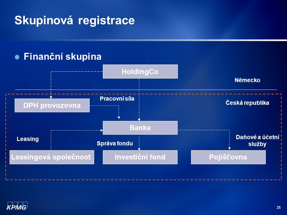 31 Skupinová registrace Finanční skupina Banka Leasingová společnostInvestiční fondPojišťovna Leasing Daňové a účetní služby Správa fondu HoldingCo Pr