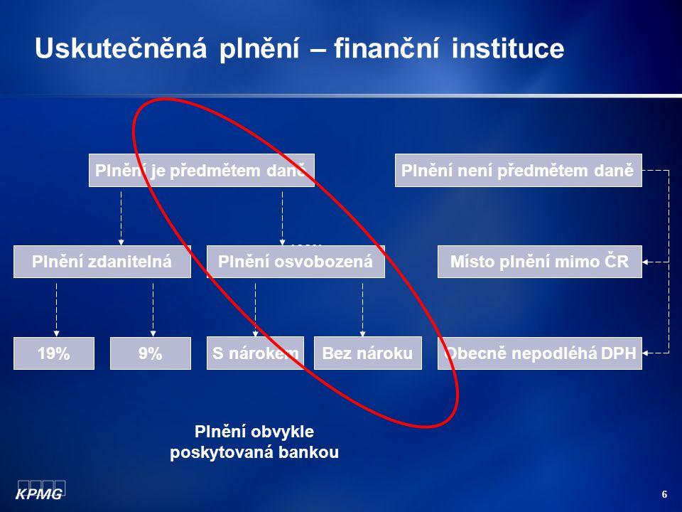 6 Uskutečněná plnění – finanční instituce Plnění je předmětem daně 100% Plnění zdanitelná Plnění není předmětem daně Plnění osvobozená 19%9% S nárokem