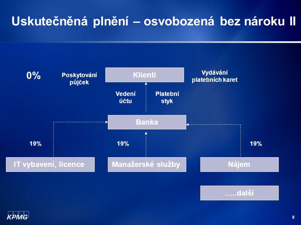 8 Uskutečněná plnění – osvobozená bez nároku II Banka IT vybavení, licenceManažerské službyNájem 19% Klienti Vedení účtu Platební styk Poskytování půj