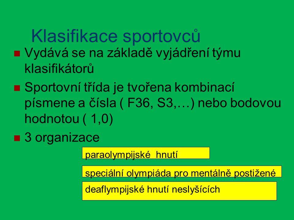 Klasifikace sportovců Vydává se na základě vyjádření týmu klasifikátorů Sportovní třída je tvořena kombinací písmene a čísla ( F36, S3,…) nebo bodovou