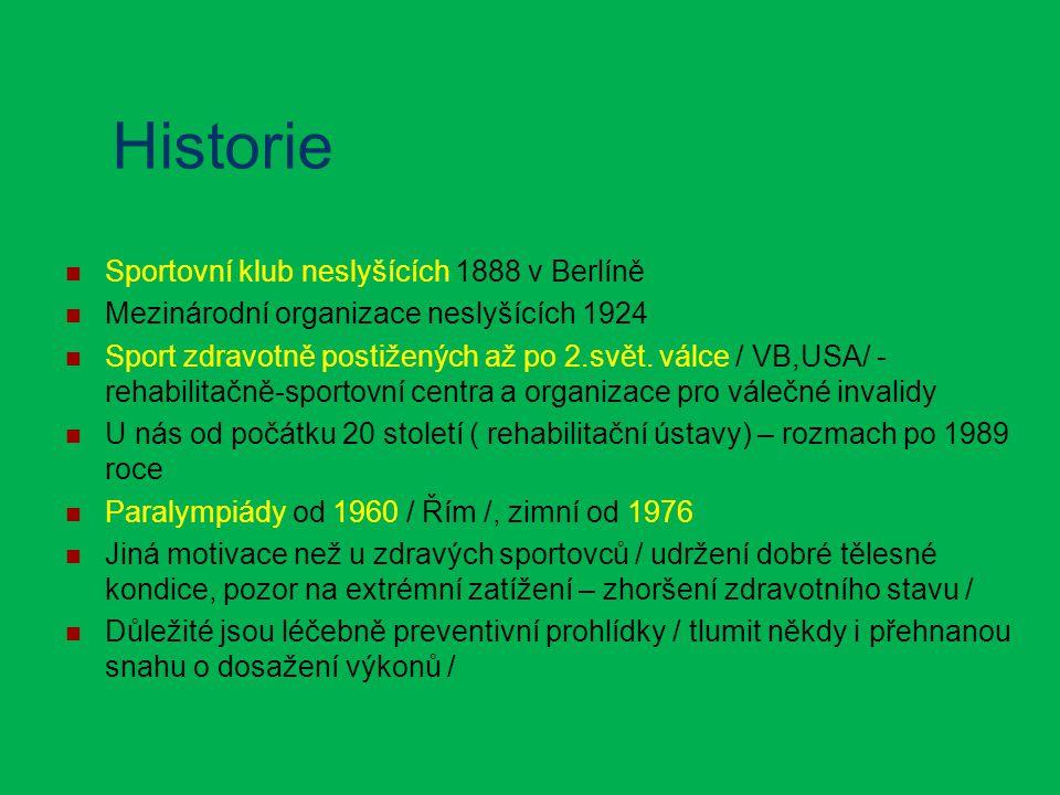 Historie Sportovní klub neslyšících 1888 v Berlíně Mezinárodní organizace neslyšících 1924 Sport zdravotně postižených až po 2.svět. válce / VB,USA/ -