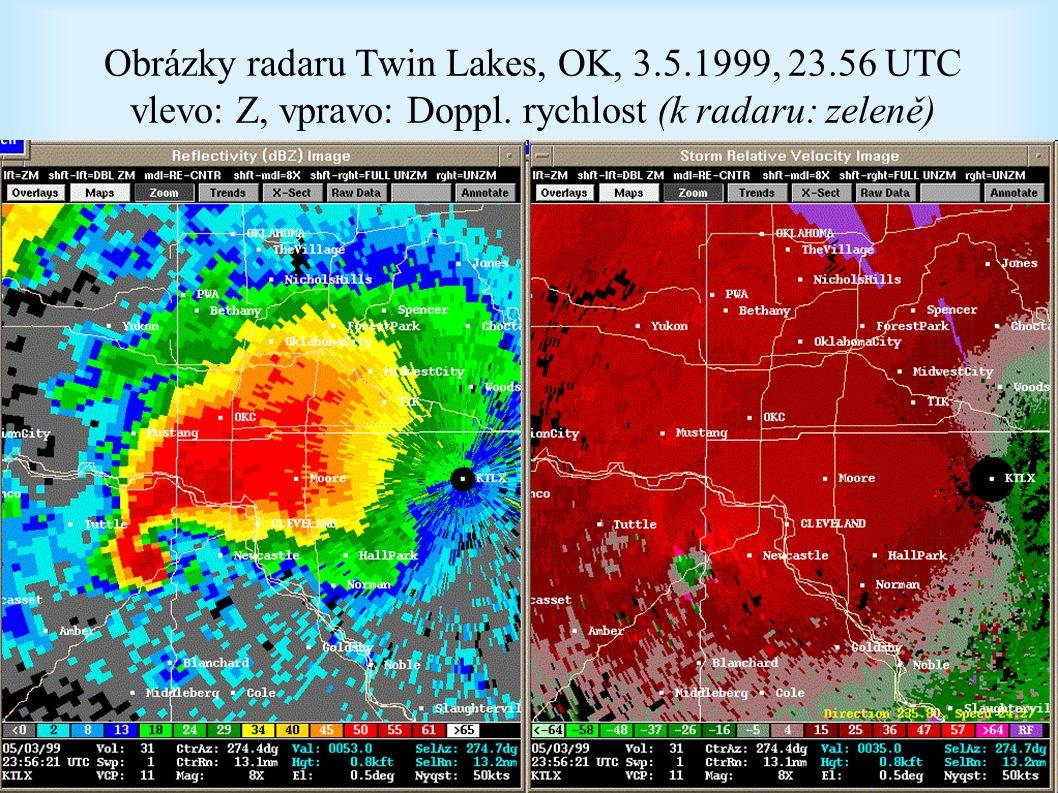 Obrázky radaru Twin Lakes, OK, 3.5.1999, 23.56 UTC vlevo: Z, vpravo: Doppl.