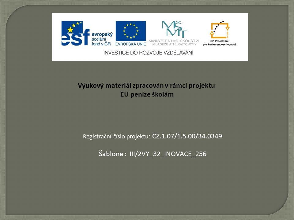Výukový materiál zpracován v rámci projektu EU peníze školám Registrační číslo projektu: CZ.1.07/1.5.00/34.0349 Šablona : III/2VY_32_INOVACE_256