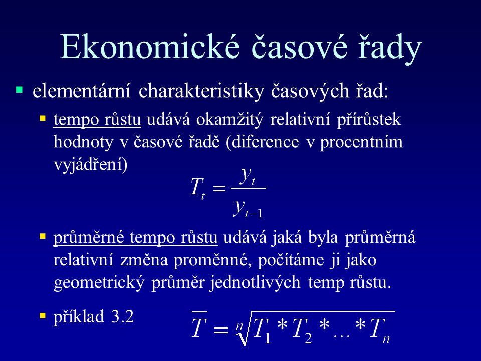 Ekonomické časové řady  elementární charakteristiky časových řad:  tempo růstu udává okamžitý relativní přírůstek hodnoty v časové řadě (diference v procentním vyjádření)  průměrné tempo růstu udává jaká byla průměrná relativní změna proměnné, počítáme ji jako geometrický průměr jednotlivých temp růstu.