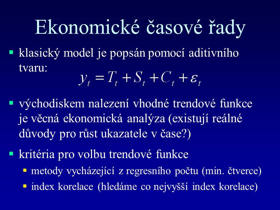 Ekonomické časové řady  klasický model je popsán pomocí aditivního tvaru:  východiskem nalezení vhodné trendové funkce je věcná ekonomická analýza (existují reálné důvody pro růst ukazatele v čase?)  kritéria pro volbu trendové funkce  metody vycházející z regresního počtu (min.