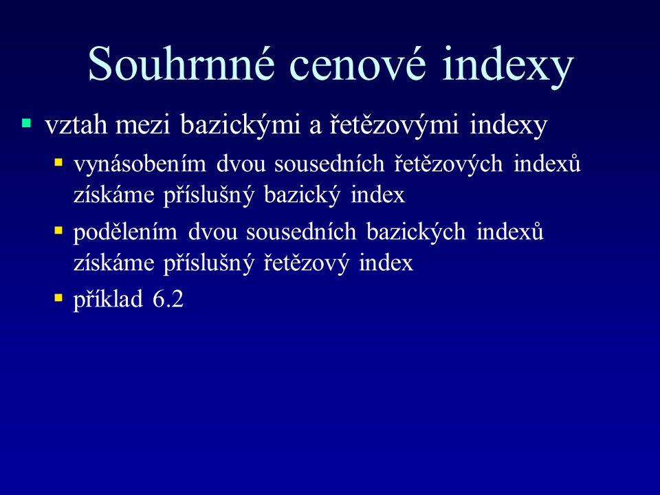 Souhrnné cenové indexy  vztah mezi bazickými a řetězovými indexy  vynásobením dvou sousedních řetězových indexů získáme příslušný bazický index  podělením dvou sousedních bazických indexů získáme příslušný řetězový index  příklad 6.2