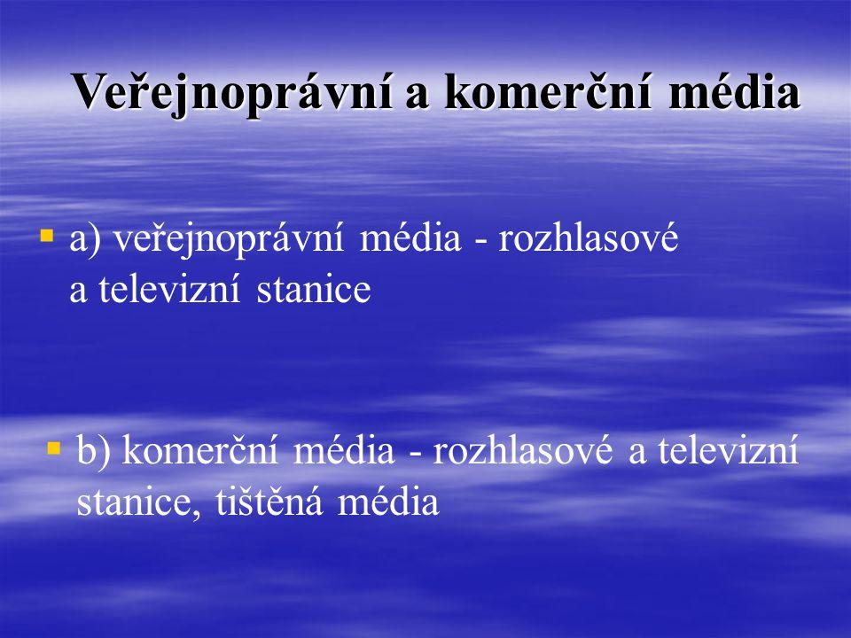 Veřejnoprávní a komerční média   a) veřejnoprávní média - rozhlasové a televizní stanice  b) komerční média - rozhlasové a televizní stanice, tištěná média